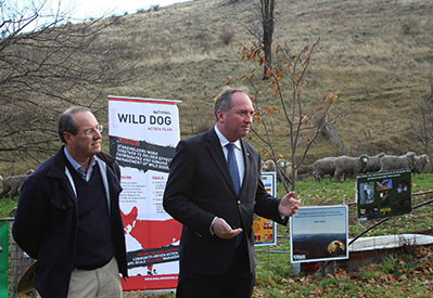 Agriculture Minister Barnaby Joyce and Federal Member for Eden-Monaro Dr Peter Hendy announcing the National Wild Dog Action Plan funding