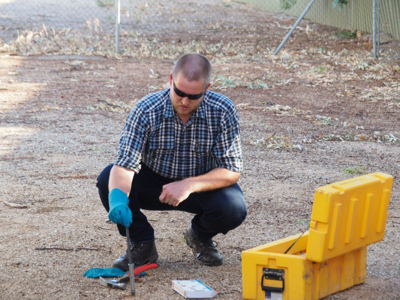 Marty Bower, SA Wild Dog Coordinator, demonstrating how to use a Canid Pest Ejector at the recent Predator Control for Production Workshop in Peterborough